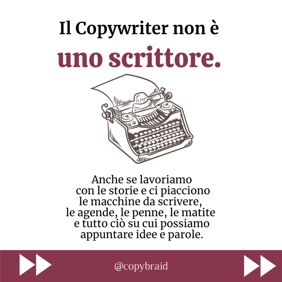 Il copywriter non è uno scrittore - Copybraid